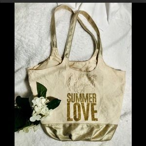 Tan and gold Victoria secret summer tote 👜